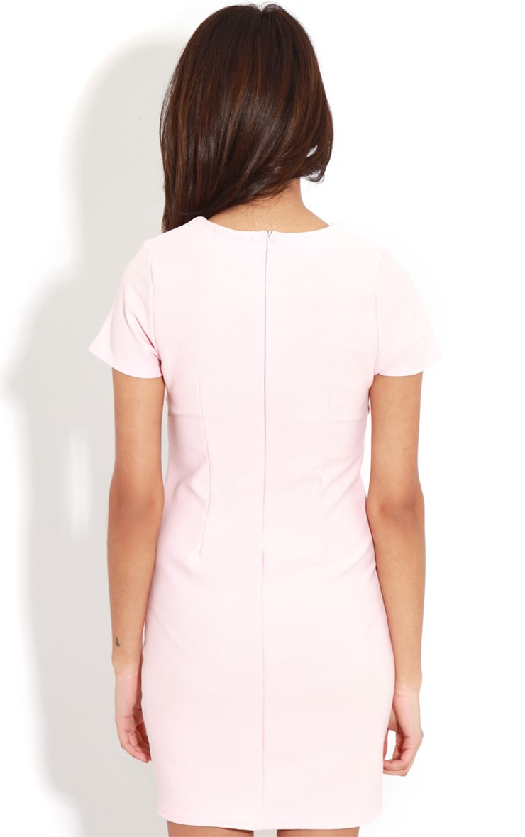 Lillie Dusty Pink Ribbed Bodycon Mini Dress 2