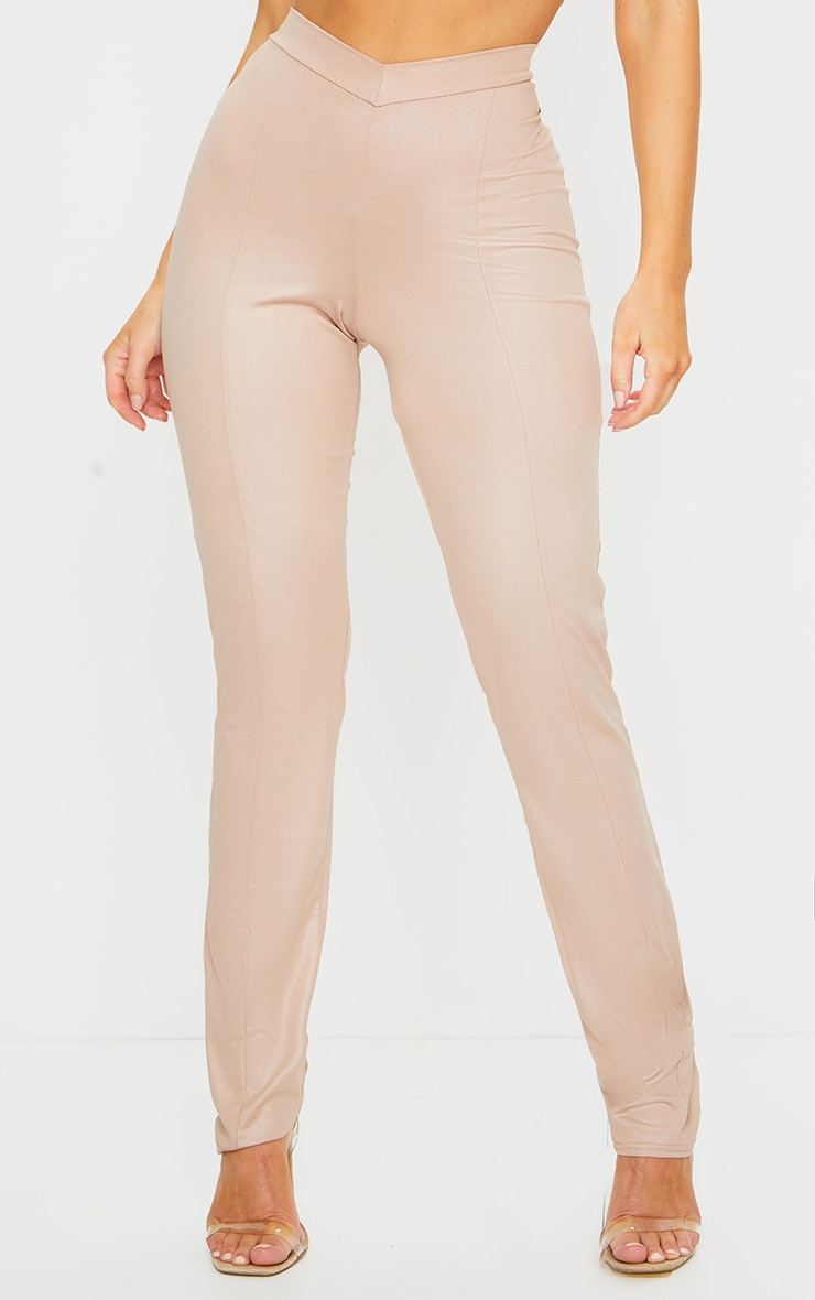 Nude Dipped Waist Wet Look Straight Leg Trousers 3