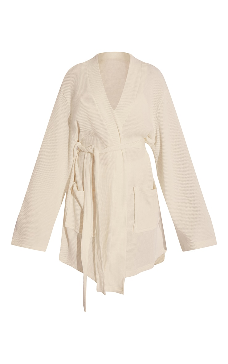 White Soft Waffle Dressing Gown 5
