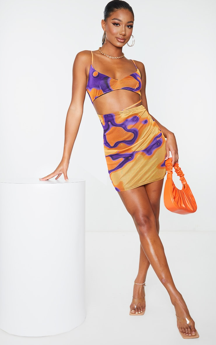 Multi Abstract Print Mesh Strappy Detail Cut Out Bodycon Dress 3