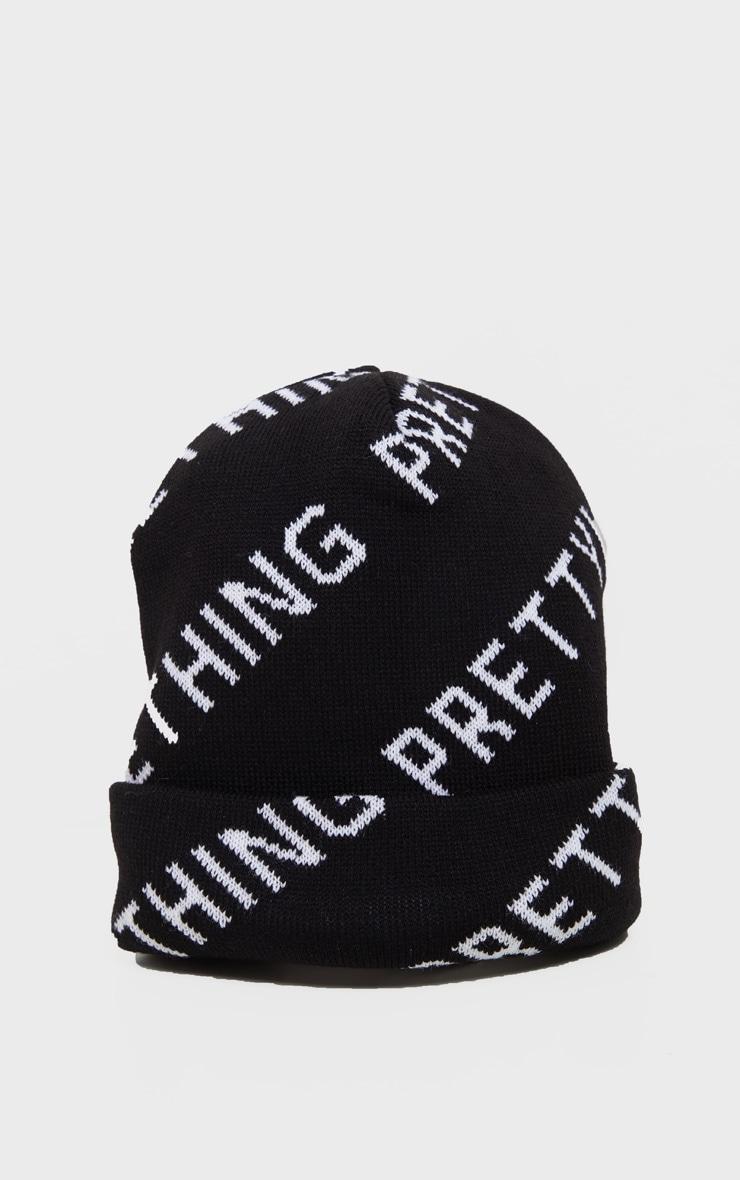 PRETTYLITTLETHING Black Slogan Beanie 2