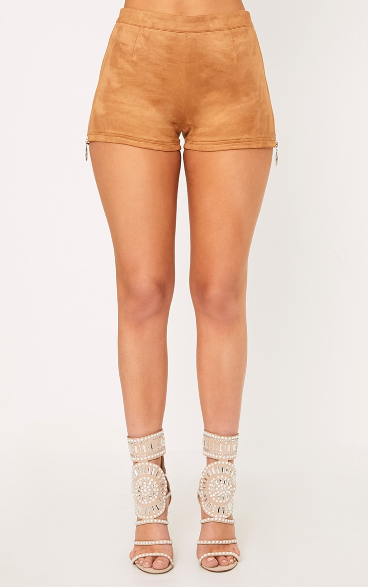 Camel Faux Suede Ring Zip Shorts 3