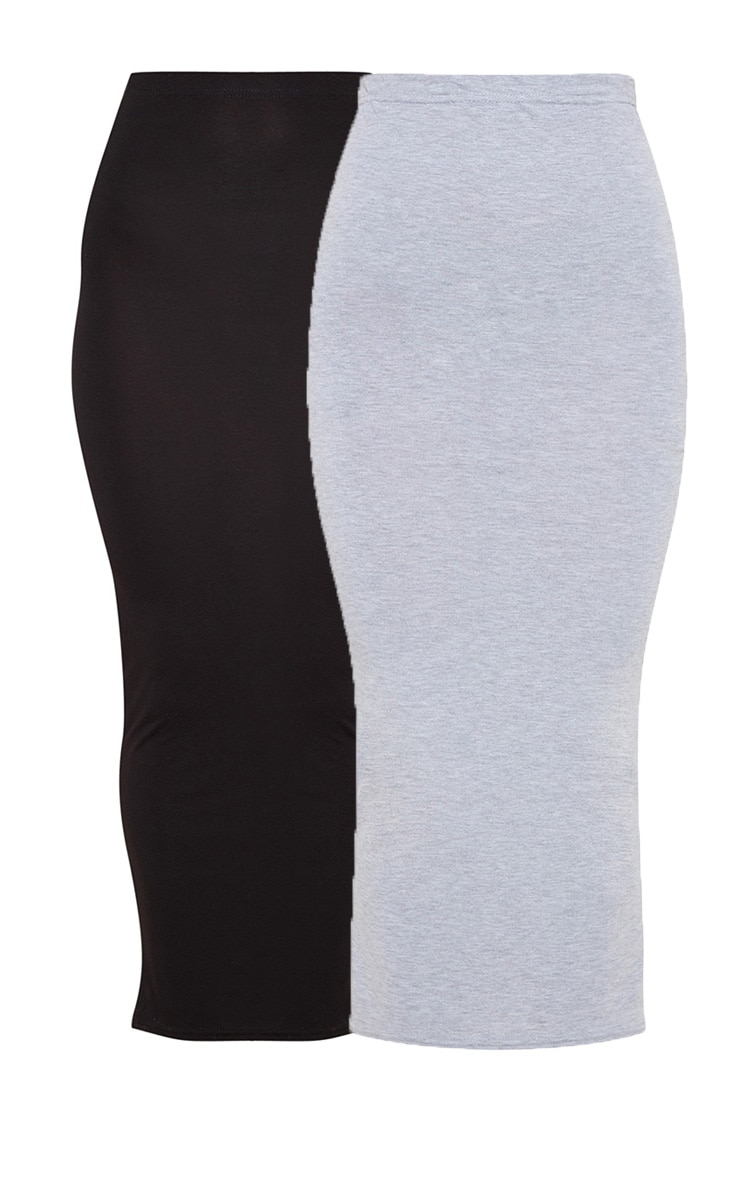 Basic Black & Grey Jersey Midaxi Skirt 2 Pack 3