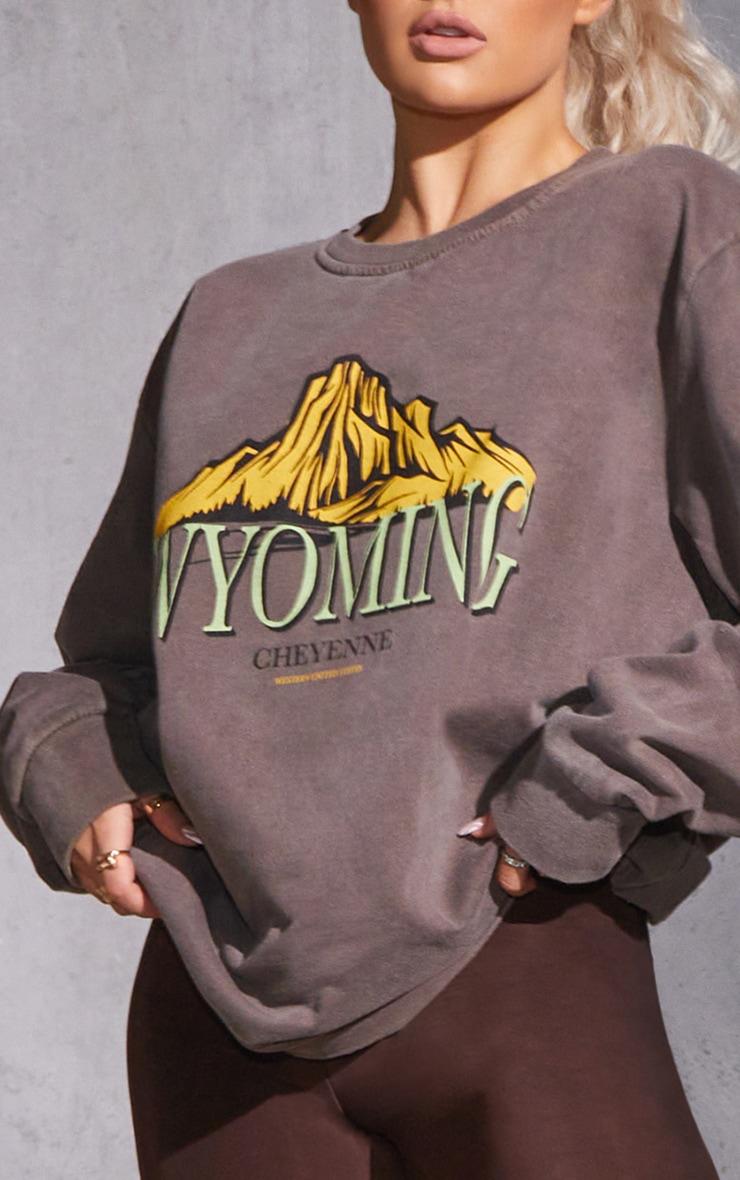 Chocolate Wyoming Graphic Printed Washed Sweatshirt 4