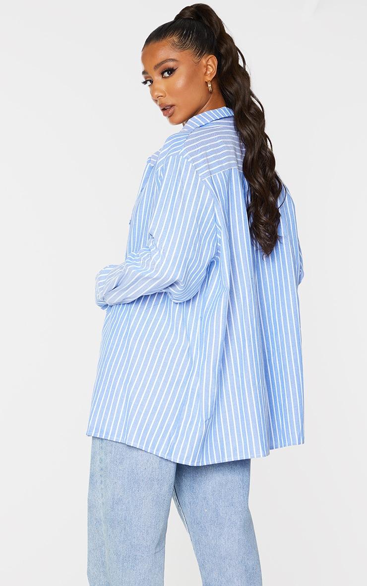 Blue Oversized Pinstripe Cuff Shirt 2