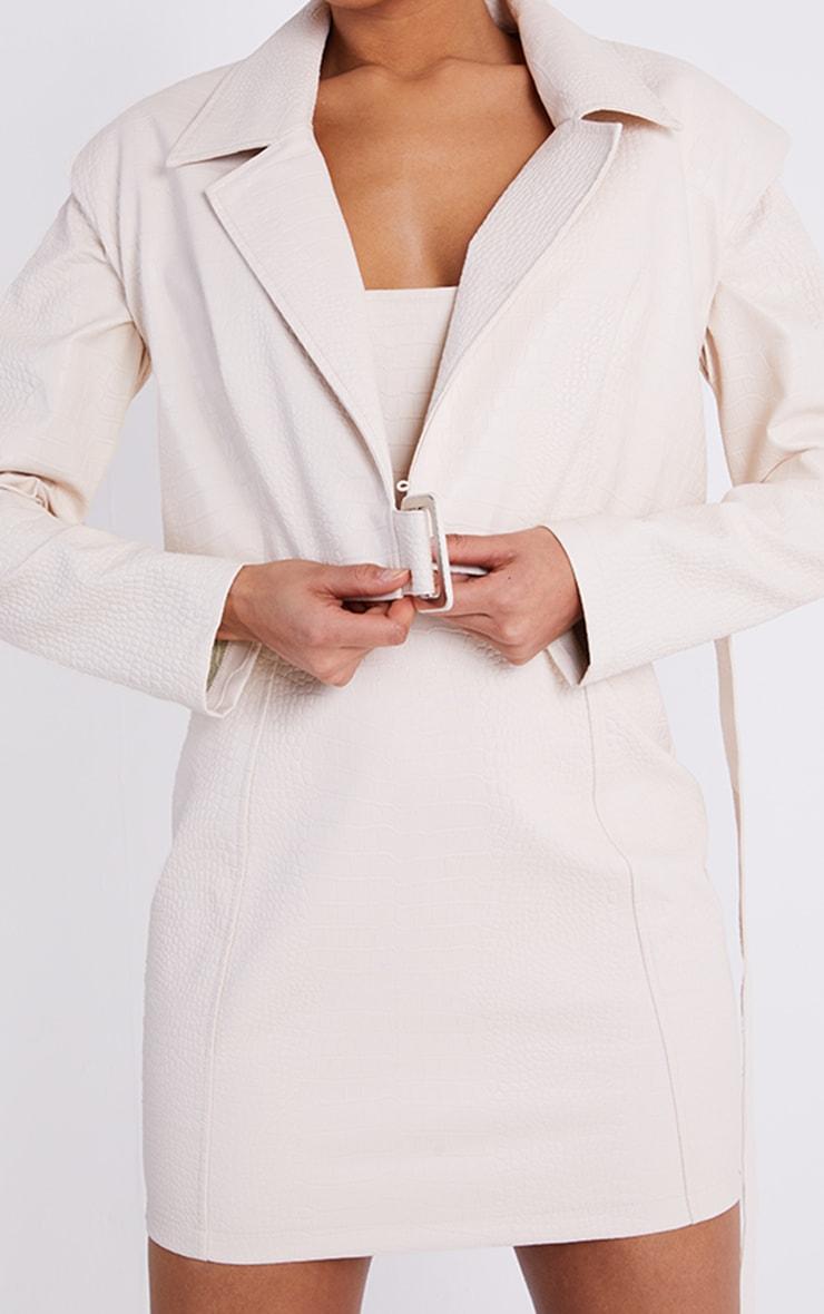 Cream Croc PU Shoulder Pad Buckle Detail Blazer Style Bodycon Dress 4