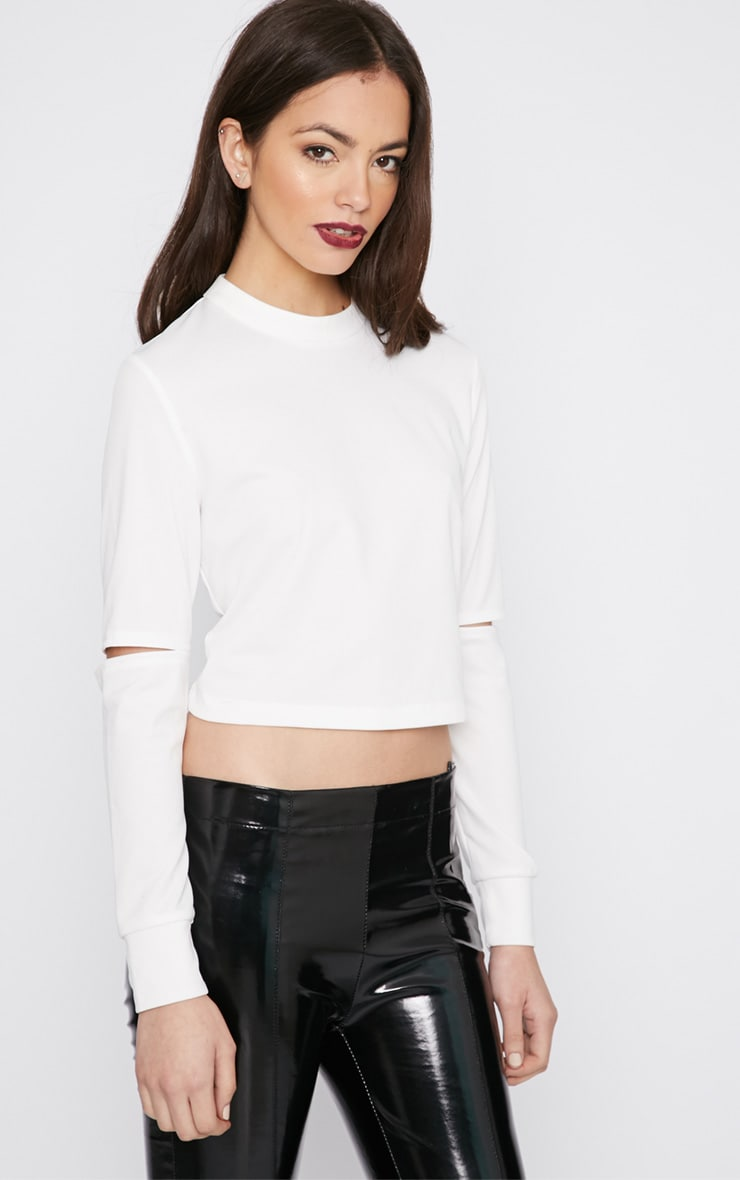 Lala White Split Arm Turtle Neck Crop Top  4