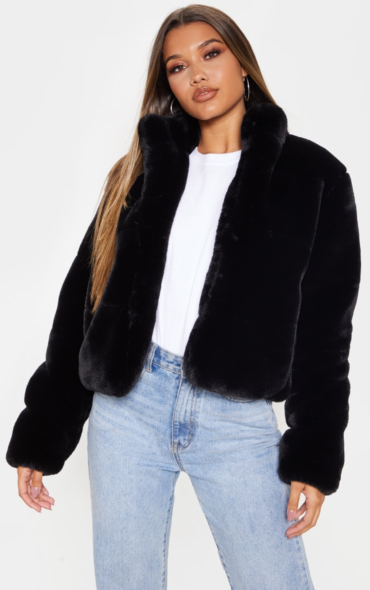Black Collar Faux Fur Jacket 1