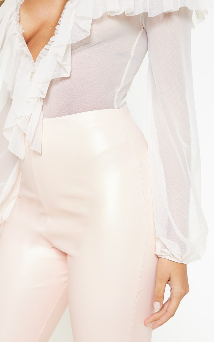 Baby Pink Faux Leather High Waisted Leggings  5