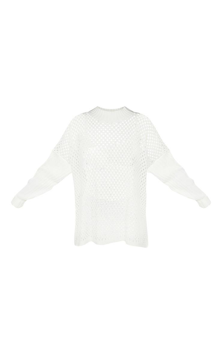 Cream High Neck Open Knit Jumper  3