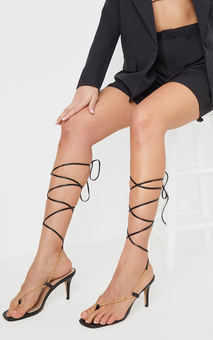 Black Chain Toe Thong Lace Up  Heeled Sandals 2