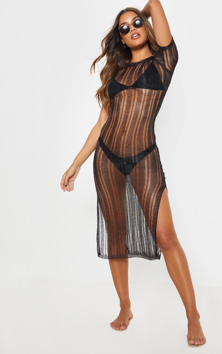 Black Metallic Knitted Midaxi Dress 1