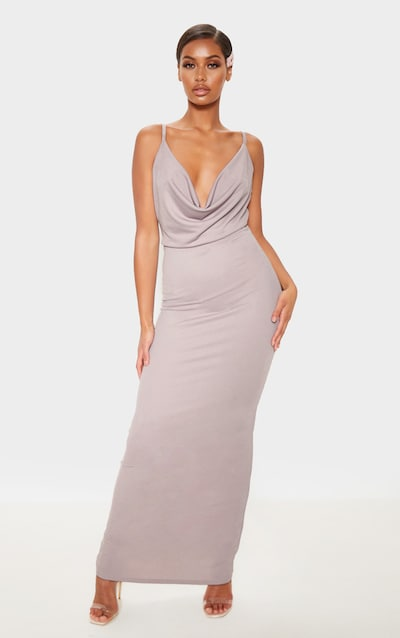 Ice Grey Cowl Neck Maxi Dress