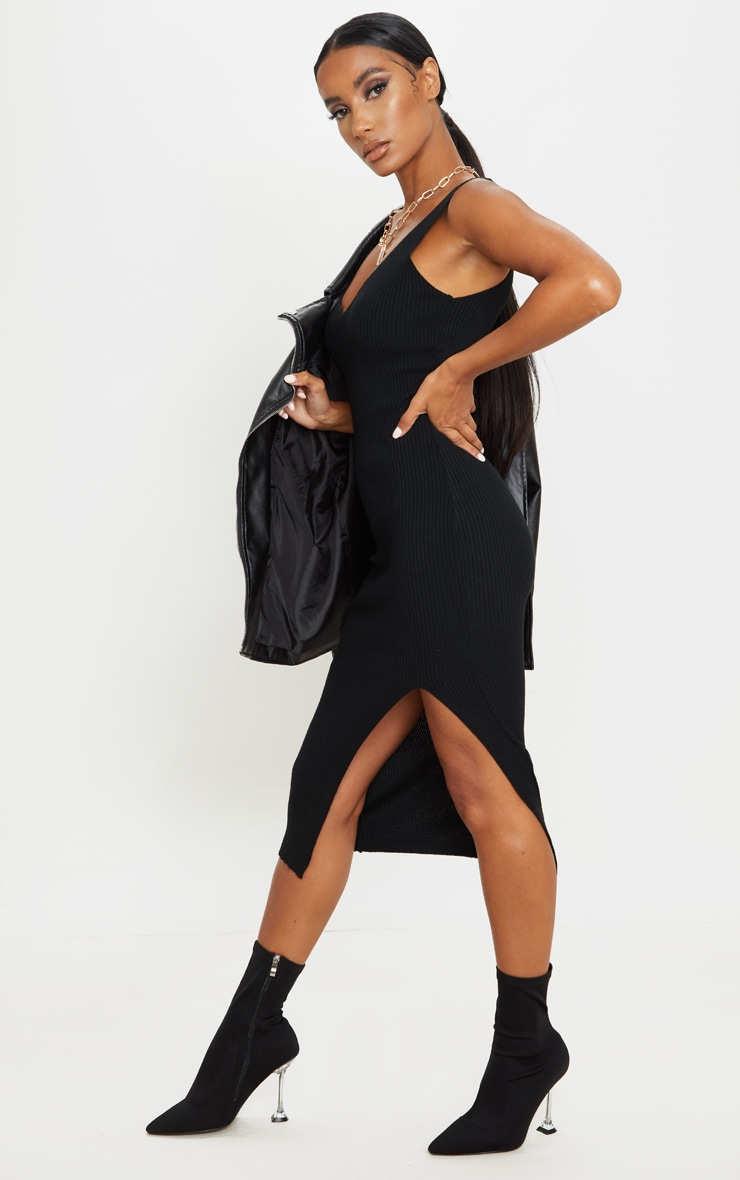 Black V Neck Side Split Knitted Midi Dress 3