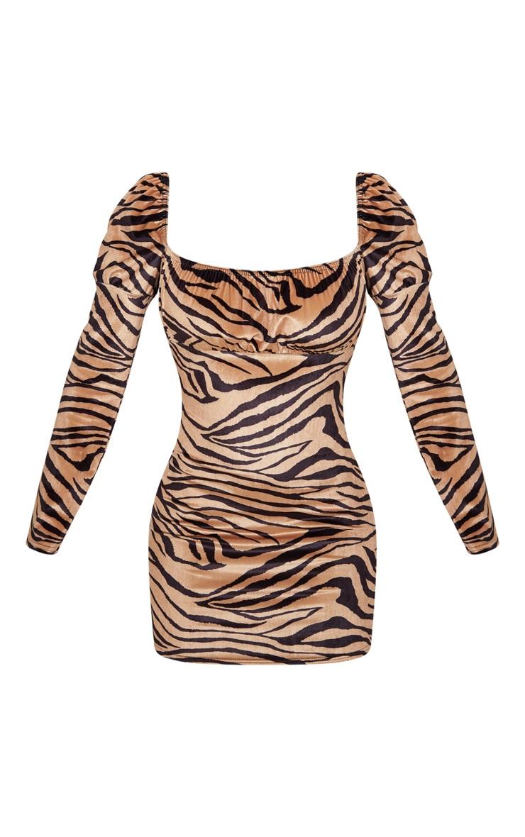 Camel Velvet Tiger Print Puff Sleeve Bodycon Dress 3