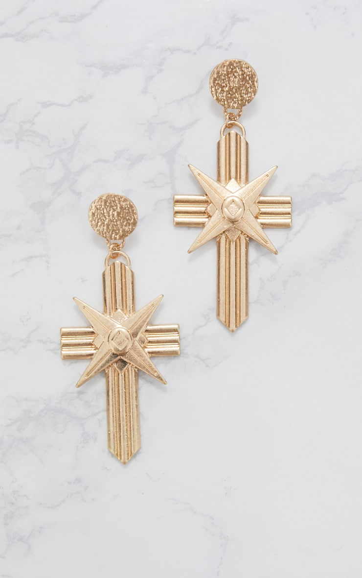 Gold Chunky Lined Cross Earrings 3