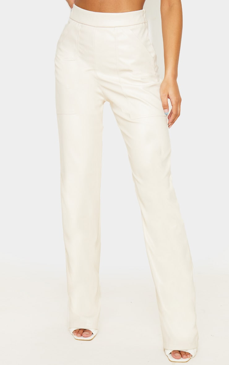 Cream Pocket Detail Faux Leather Straight Leg Trouser 2