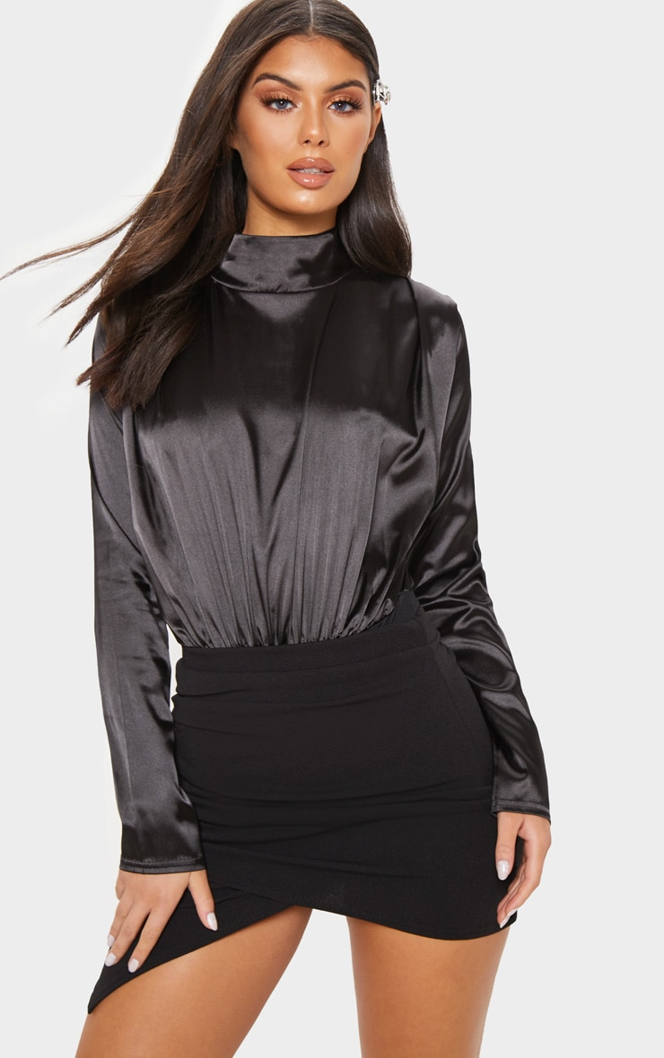 Black High Neck Satin Bodysuit 1