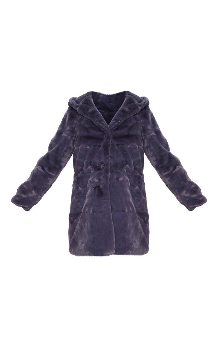 Dark Grey Hooded Faux Fur Midi Coat 3
