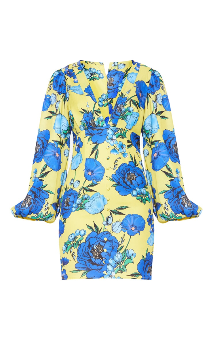 Yellow Floral Print Puff Sleeve Button Detail Bodycon Dress  3