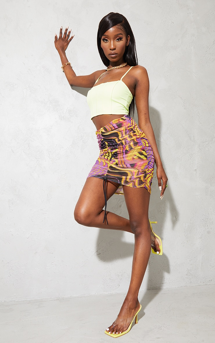 Purple Abstract Printed Mesh Dipped Waist Ruched Front Mini Skirt 1