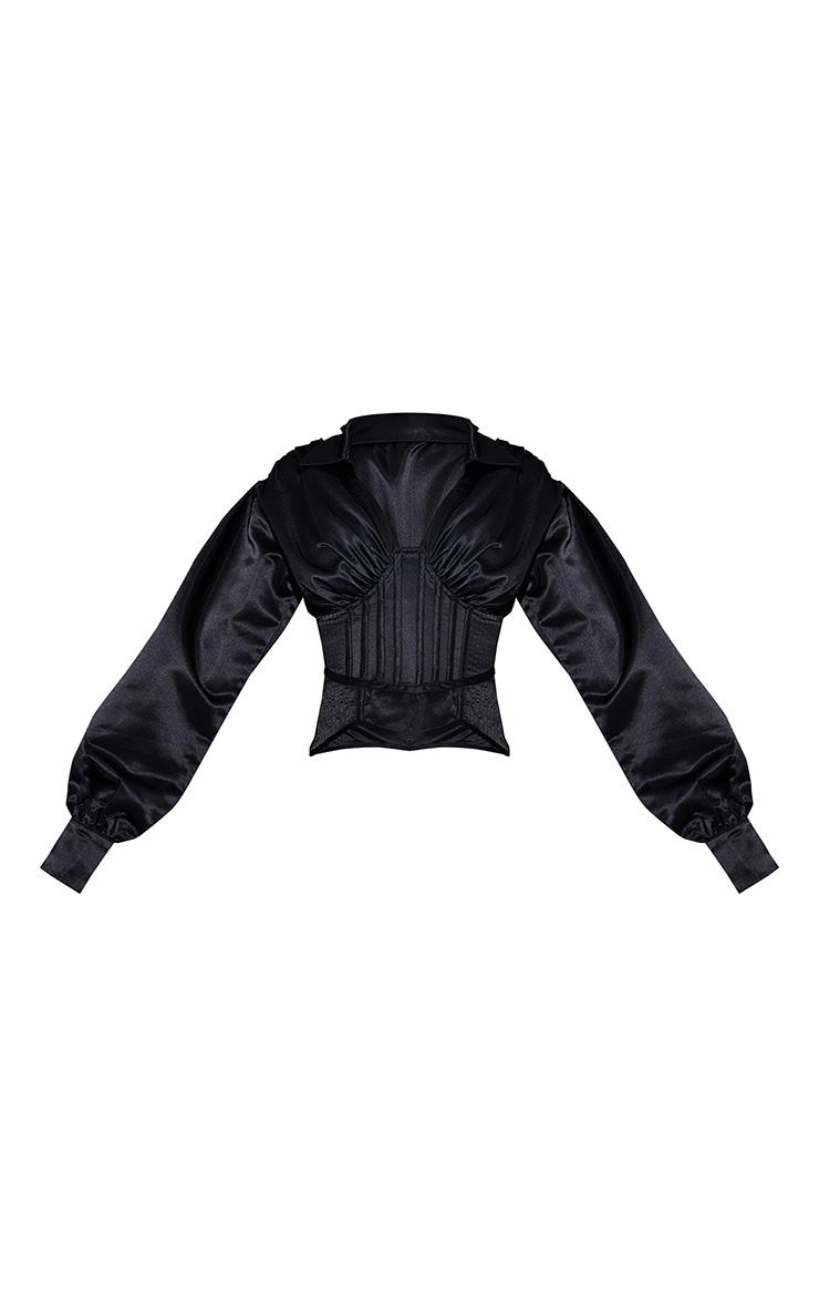 Black Satin Ruched Balloon Sleeve Boned Corset Detail Shirt 5