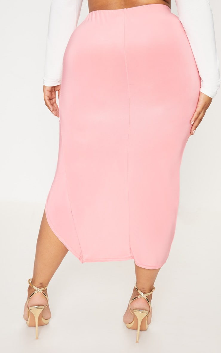 Plus Coral Slinky Ruched Wrap Front Midi Skirt 4