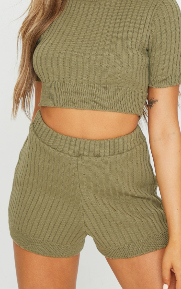 Khaki Wide Rib Knitted Short Set 4