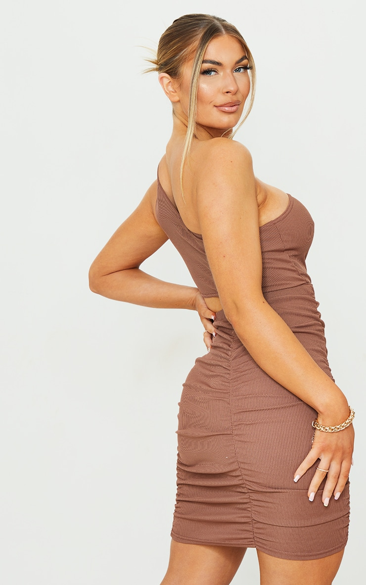 Chocolate Ribbed One Shoulder Ruched Cut Out Bodycon Dress 2