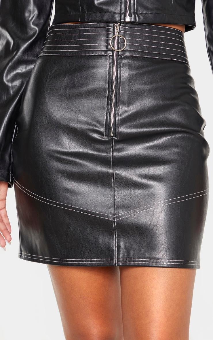 Black Contrast Stitch Faux Leather Mini Skirt  6