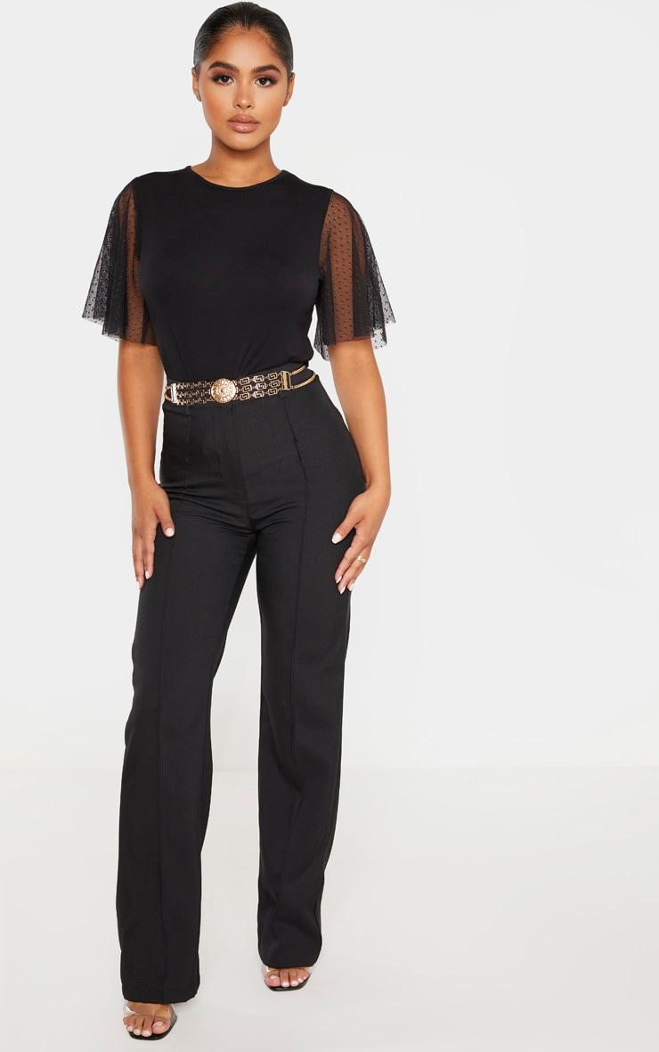 Petite - Tee-shirt noir en mesh à pois à manches courtes 4
