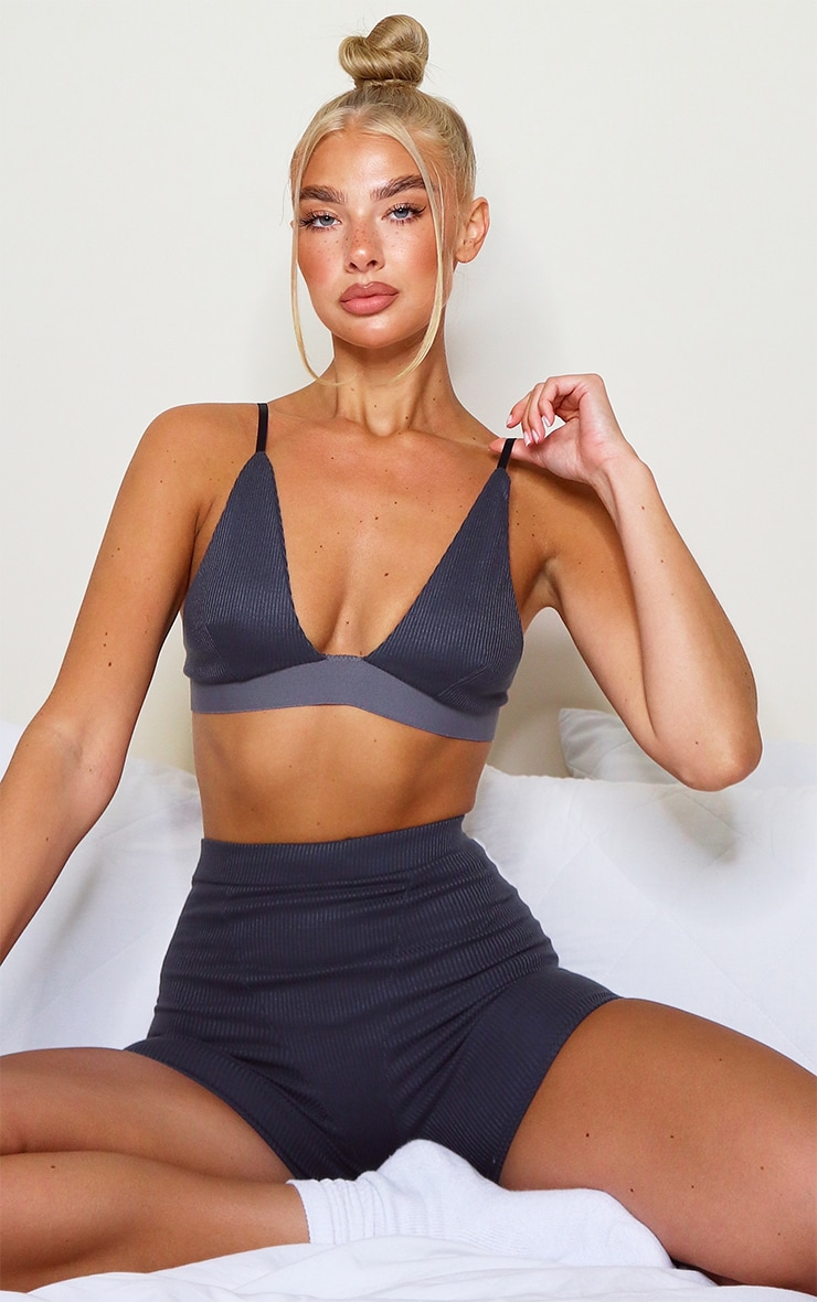 Charcoal Grey Ribbed Plunge Bralet 1