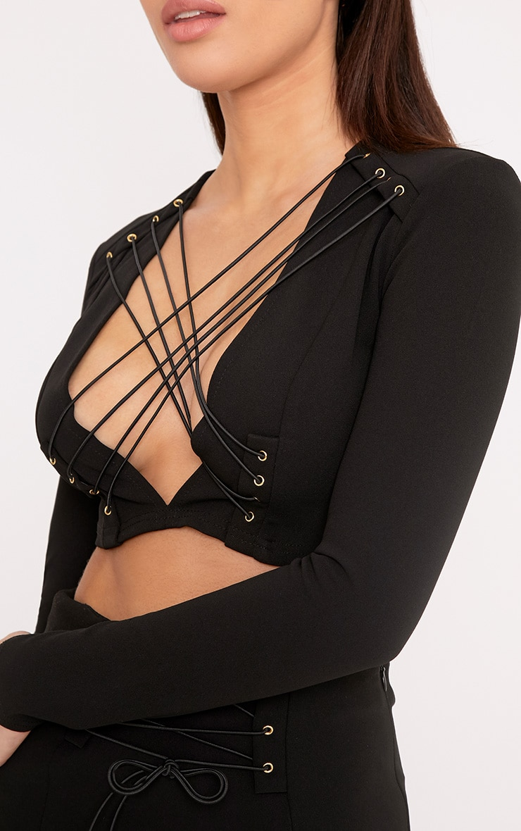 Reigen Black Trapeze Lace Up Longsleeve Top 5