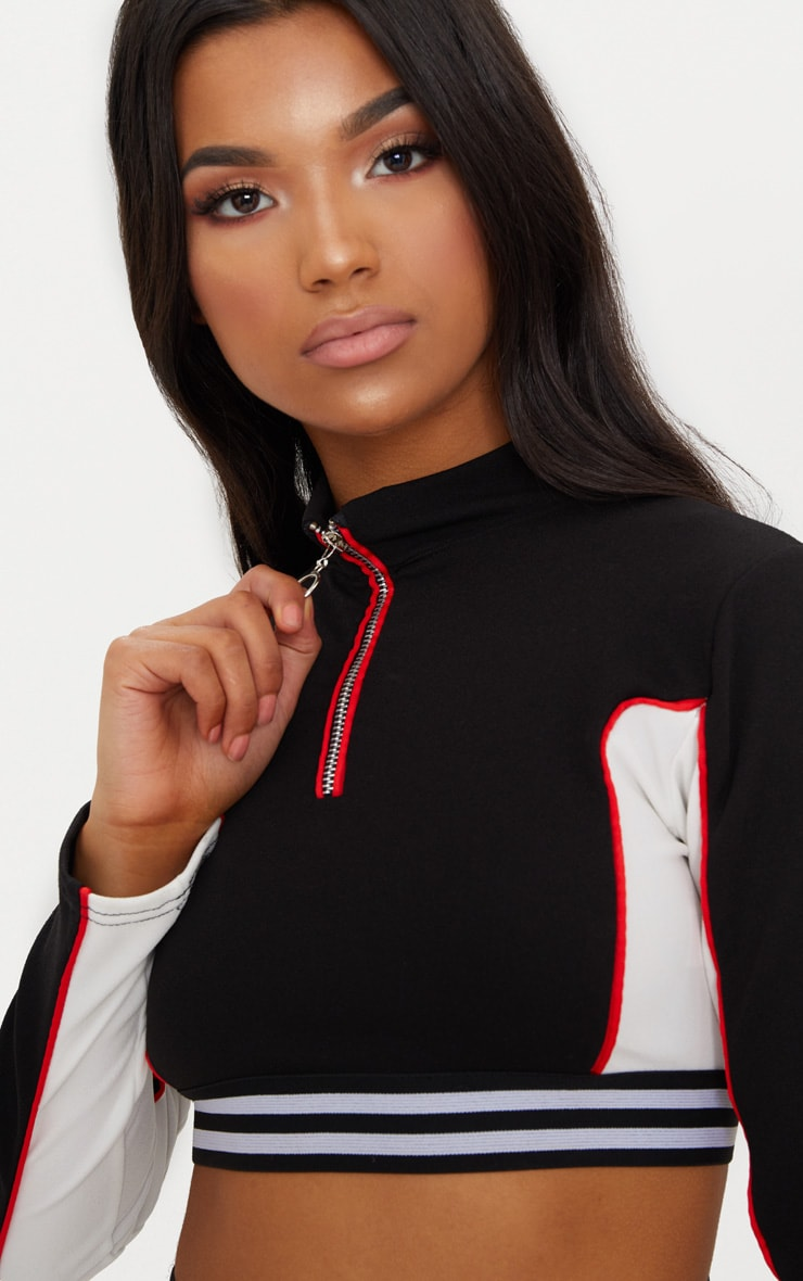 Black Motorcross Contrast Panel High Neck  Crop Top 5