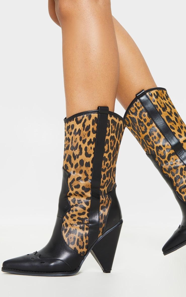 Leopard Ankle Western Cone Heel Boot 2