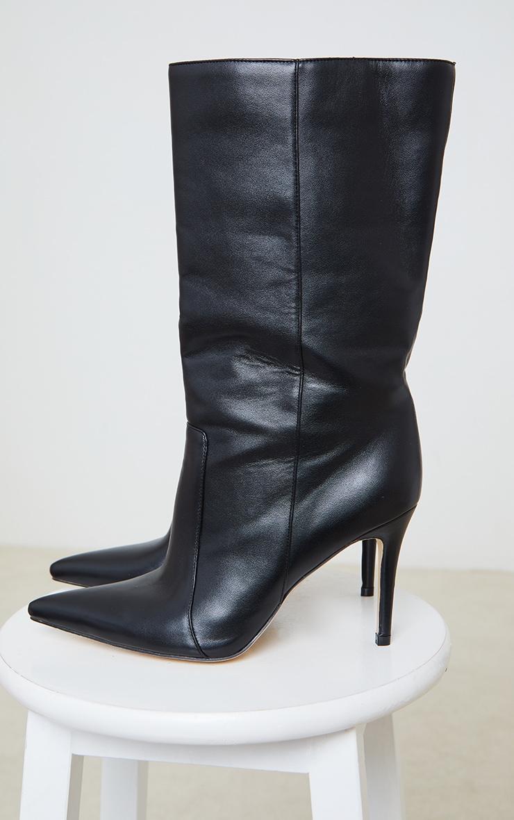 Black Calf High Point Heel Boot 4