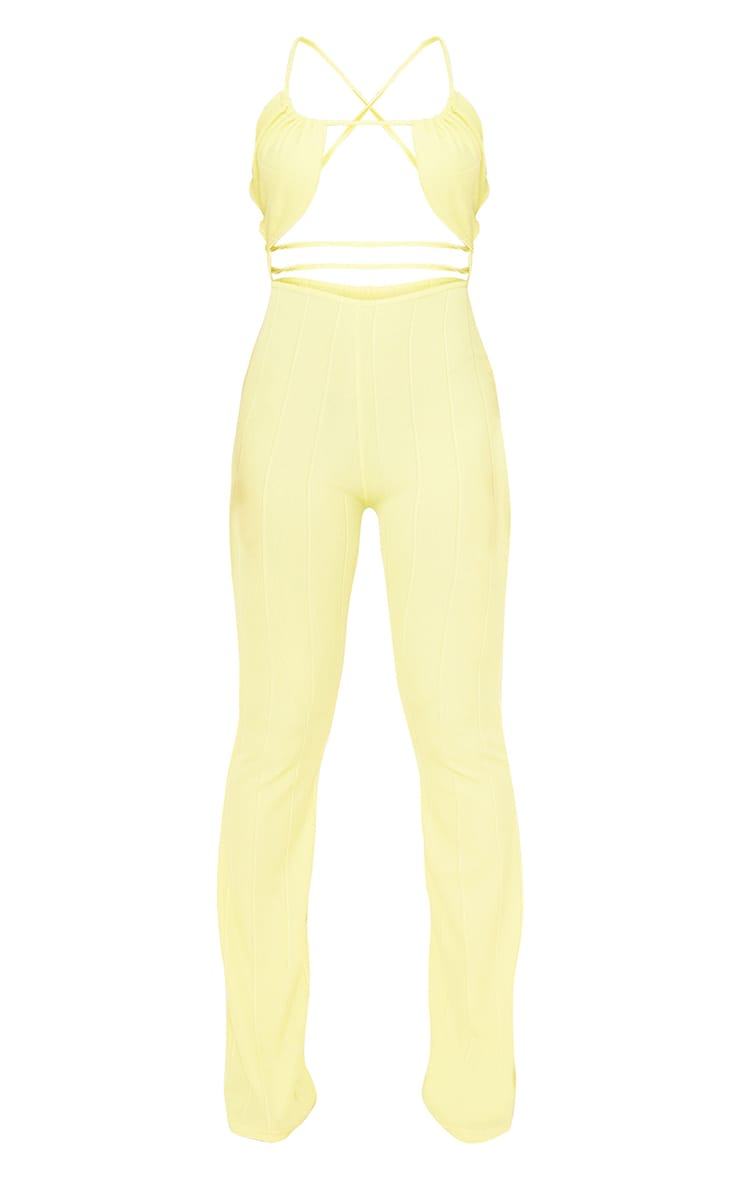 Yellow Bandage Rib Cross Back Flared Jumpsuit 6