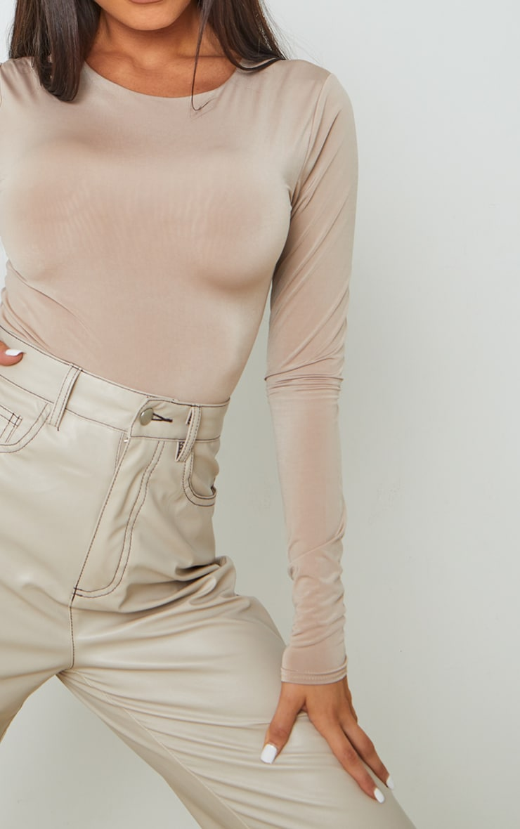 Stone Soft Touch Round Neck Long Sleeve Bodysuit 4