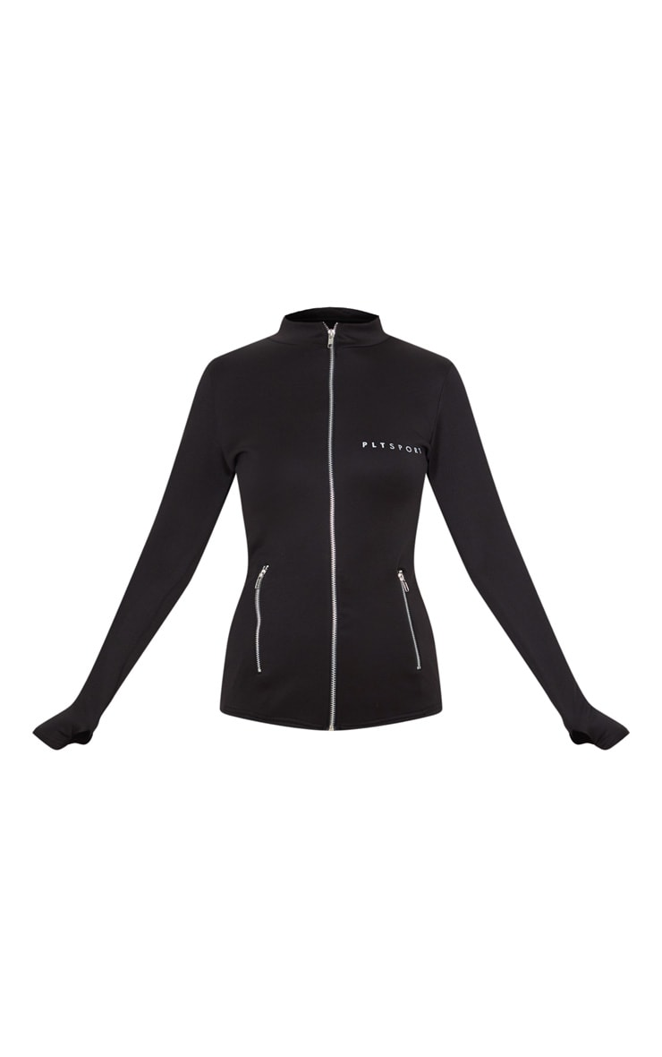 PRETTYLITTLETHING Black Scuba Zip Up Sports Jacket 3