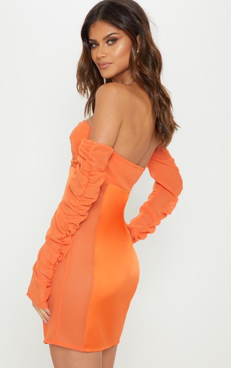Bright Orange Mesh Ruched Bodycon Dress 2