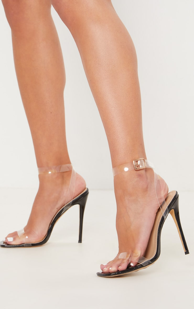Black Patent Square Toe Clear Strappy Sandal  1