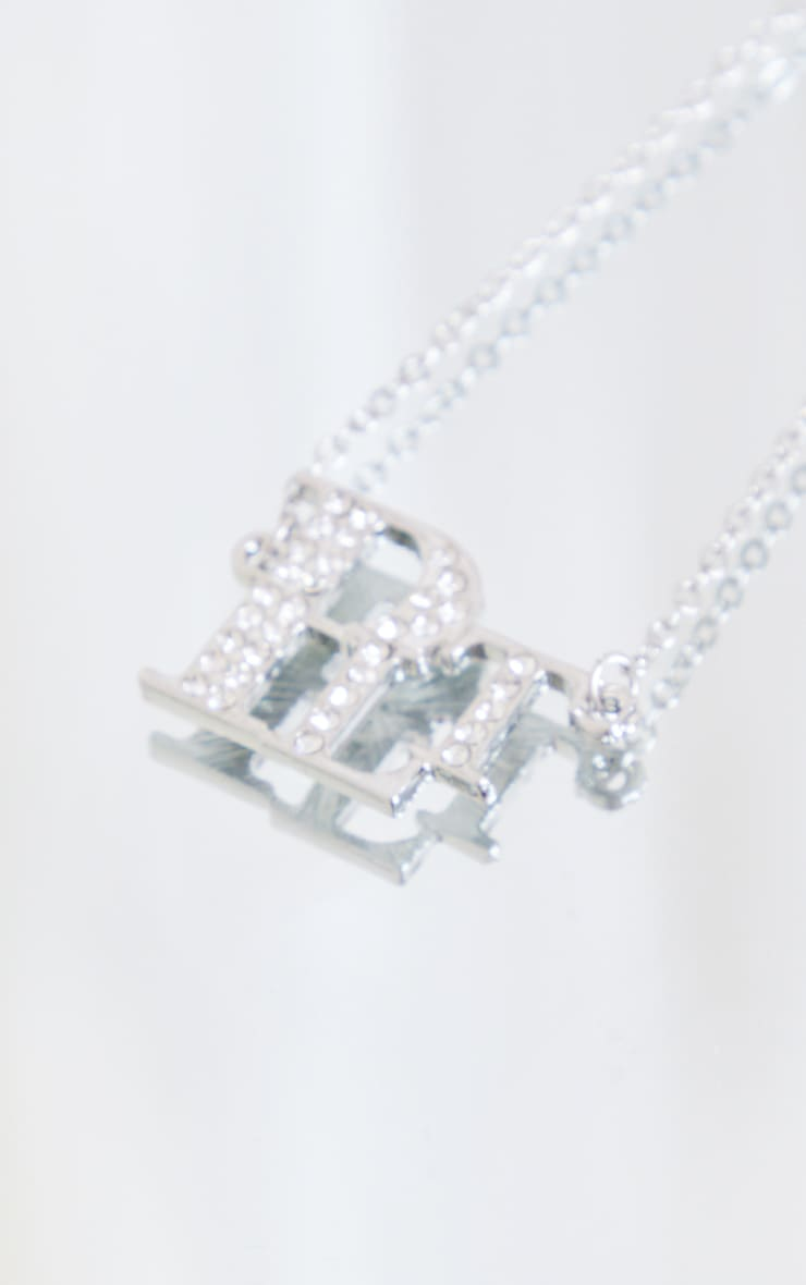 PRETTYLITTLETHING Silver Diamante Necklace 3