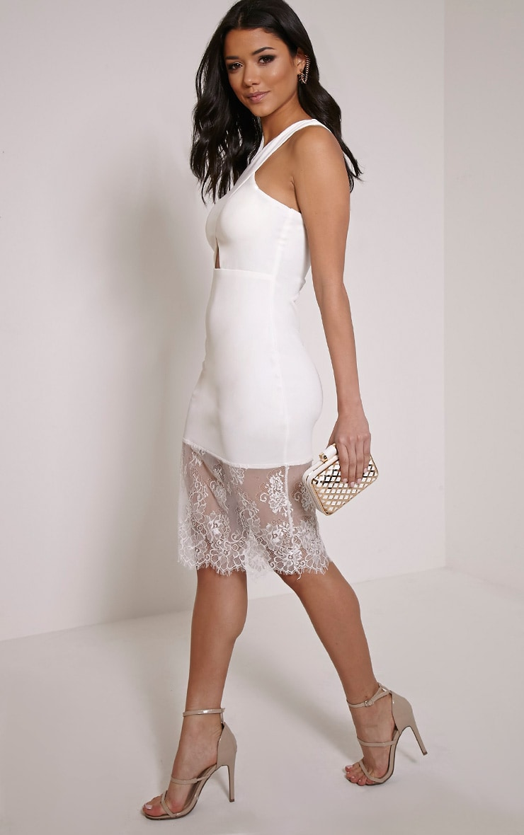 Sinead White Racer Neck Lace Hem Midi Dress 4