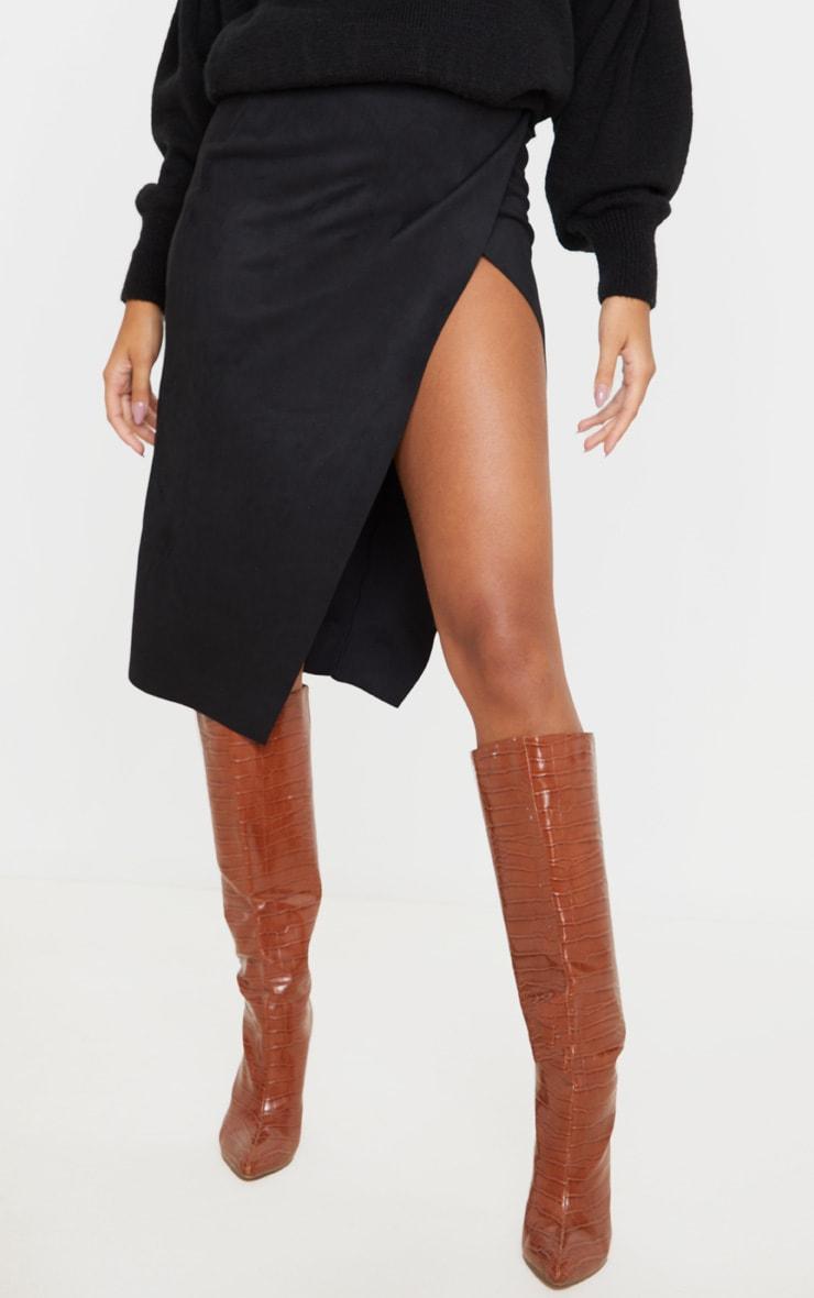 Black Faux Suede Extreme Split Wrap Midi Skirt 2