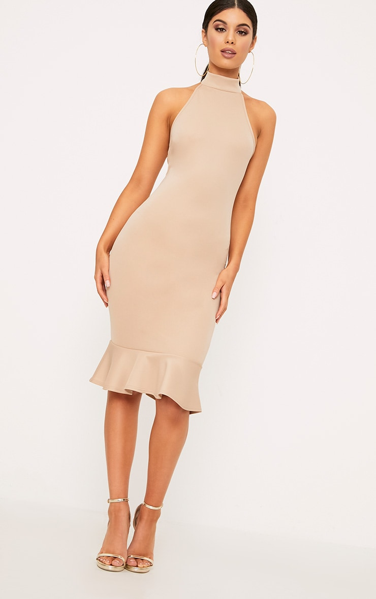 Nude High Neck Frill Hem Midi Dress 4