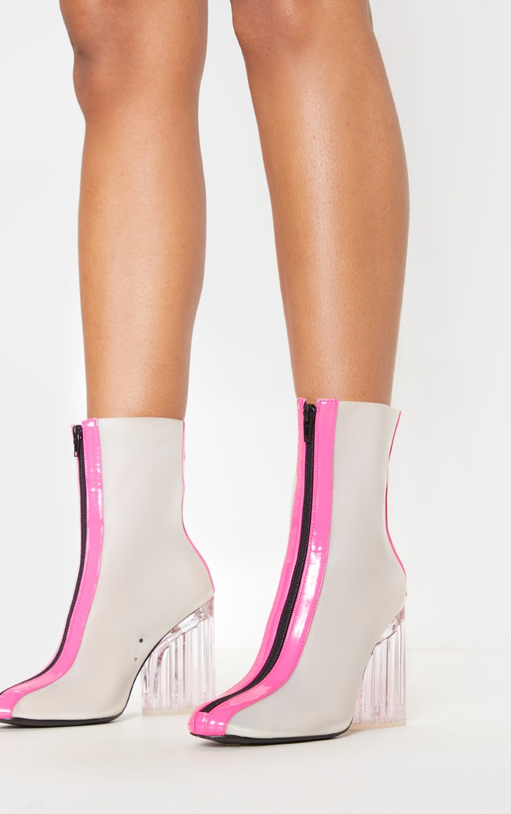 Neon Pink Zip Front Clear Heel Ankle Boot 1