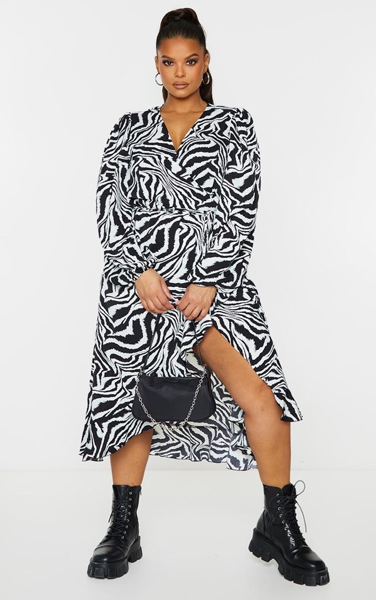 Plus White Zebra Print Ruffle Wrap Front Midi Dress 1