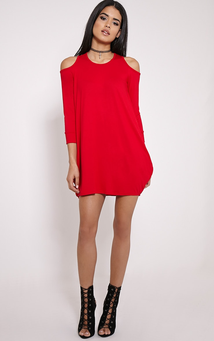 Bronywn Red Cut Out Shoulder Dress 3