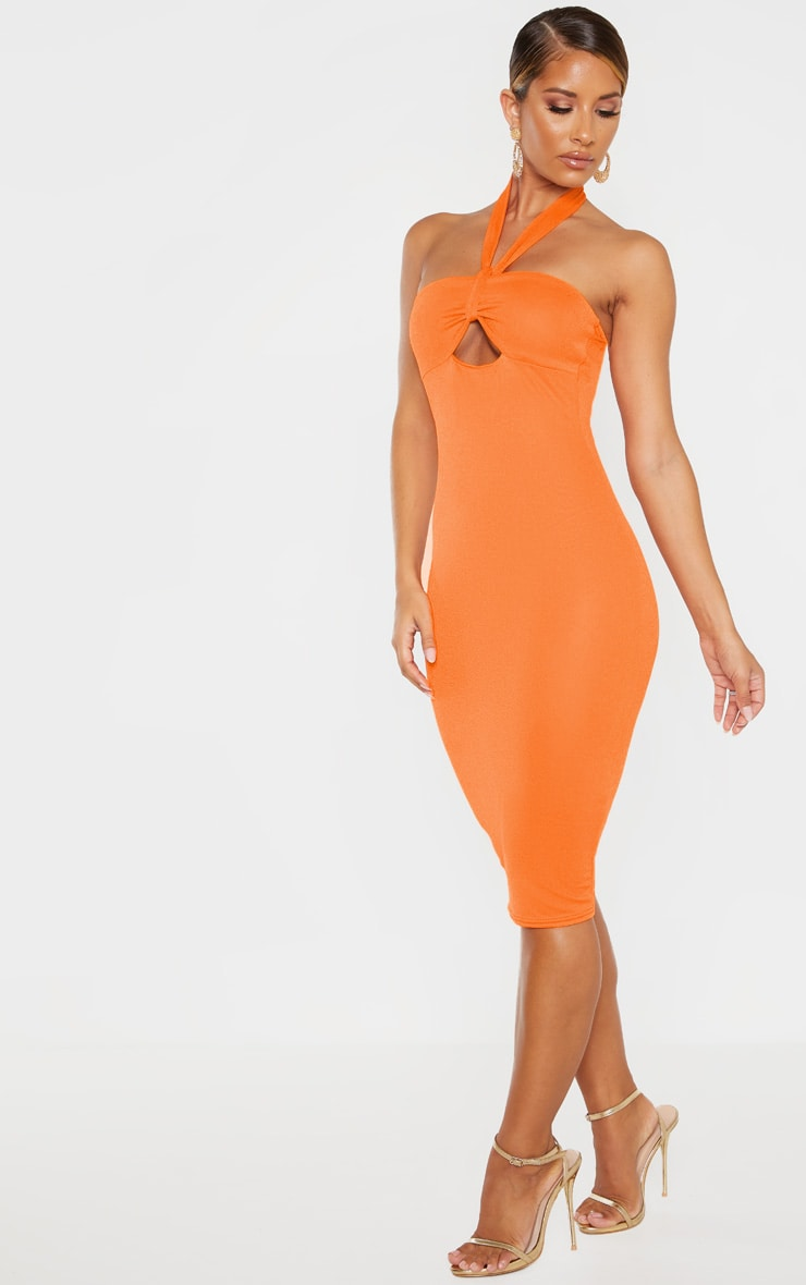 Bright Orange Twist Front Halterneck Bodycon Dress  4