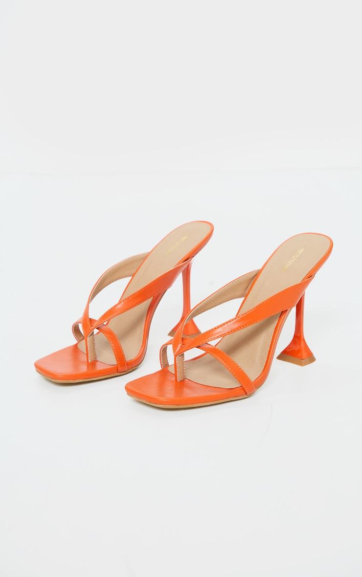 Orange Cake Stand High Heel Toe Thong Strap Mule Heels 3